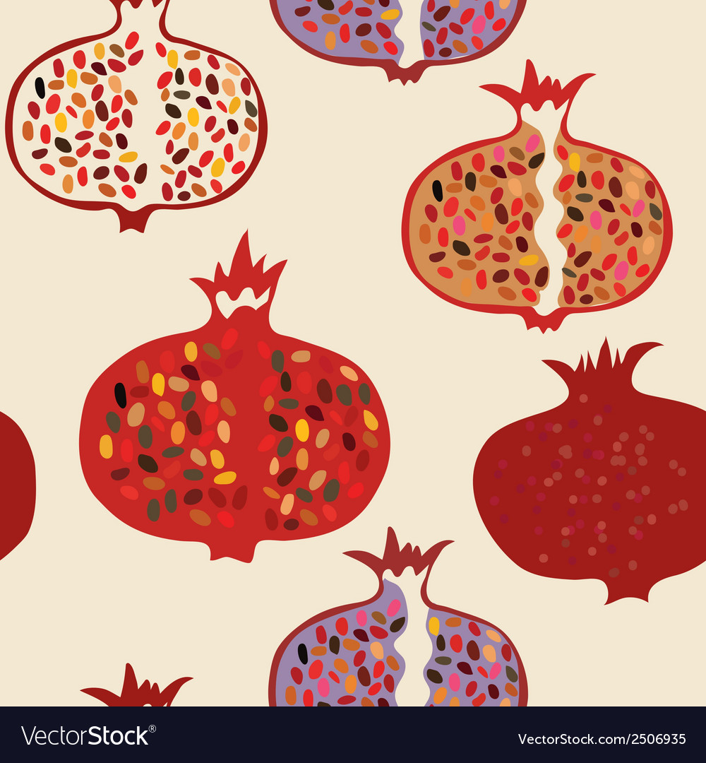 Pomegranate seamless pattern funny vector | Price: 1 Credit (USD $1)