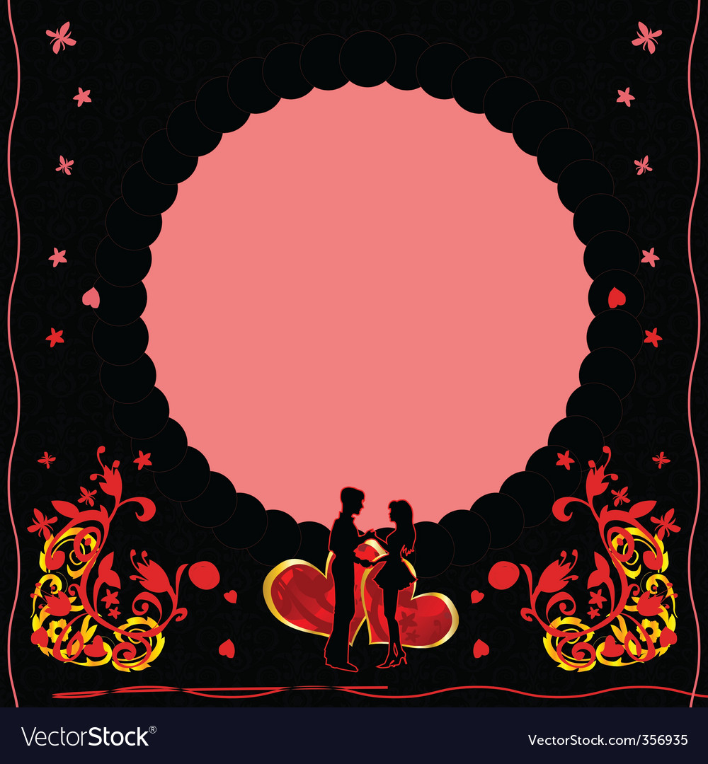 Romantic card with ornate flow vector | Price: 1 Credit (USD $1)