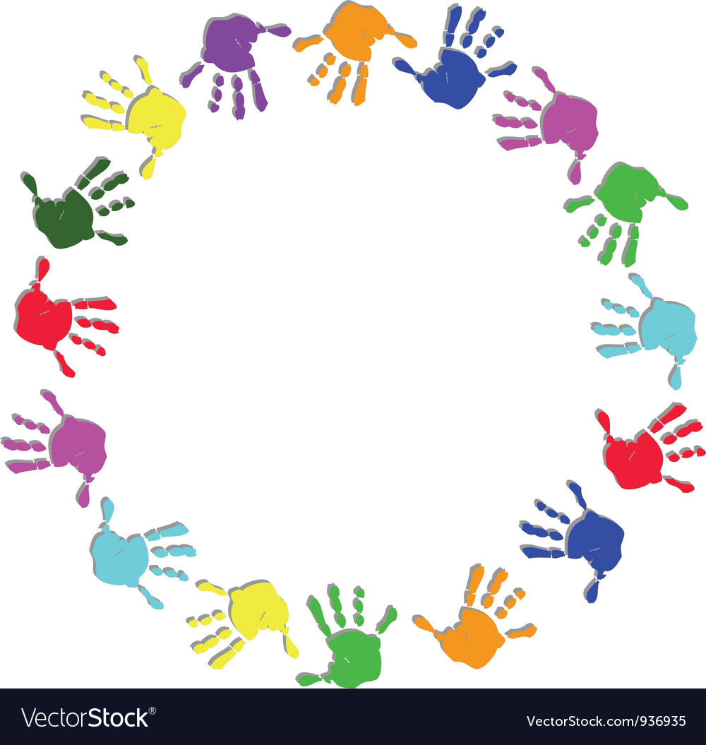 Round colorful hand frame vector | Price: 1 Credit (USD $1)