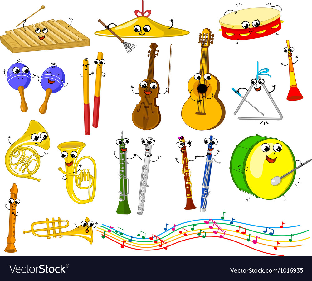 Set of funny cartoon musical instruments for kids vector | Price: 3 Credit (USD $3)