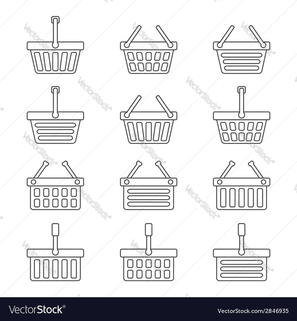 Set of twelve shopping baskets icons vector | Price: 1 Credit (USD $1)