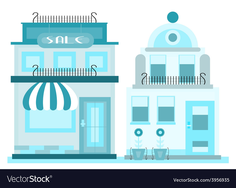 Two blue buildings vector | Price: 1 Credit (USD $1)