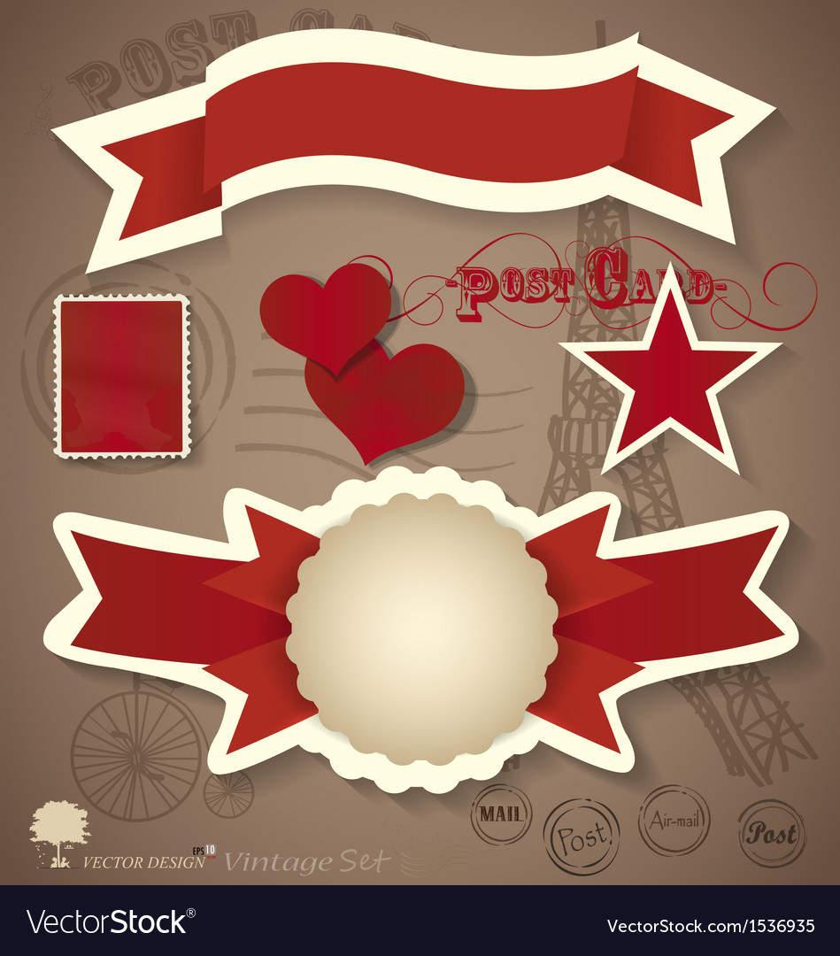 Vintage postcard designs and ribbon vector | Price: 1 Credit (USD $1)