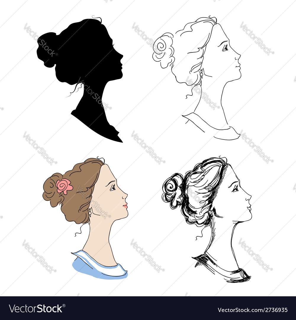 Woman head profiles vector | Price: 1 Credit (USD $1)