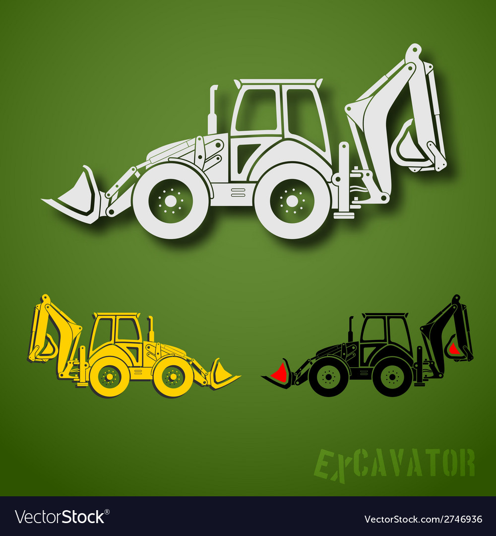 Excavator set vector | Price: 1 Credit (USD $1)