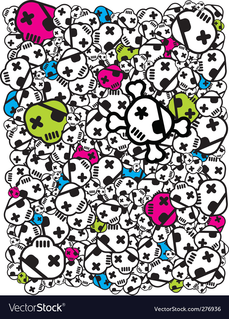Funky skulls vector | Price: 1 Credit (USD $1)
