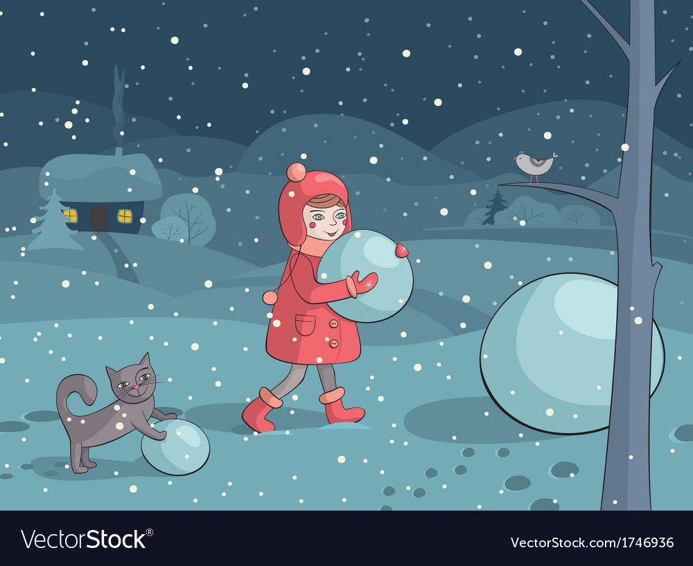 Girl and cat making snowman in the evening vector | Price: 3 Credit (USD $3)