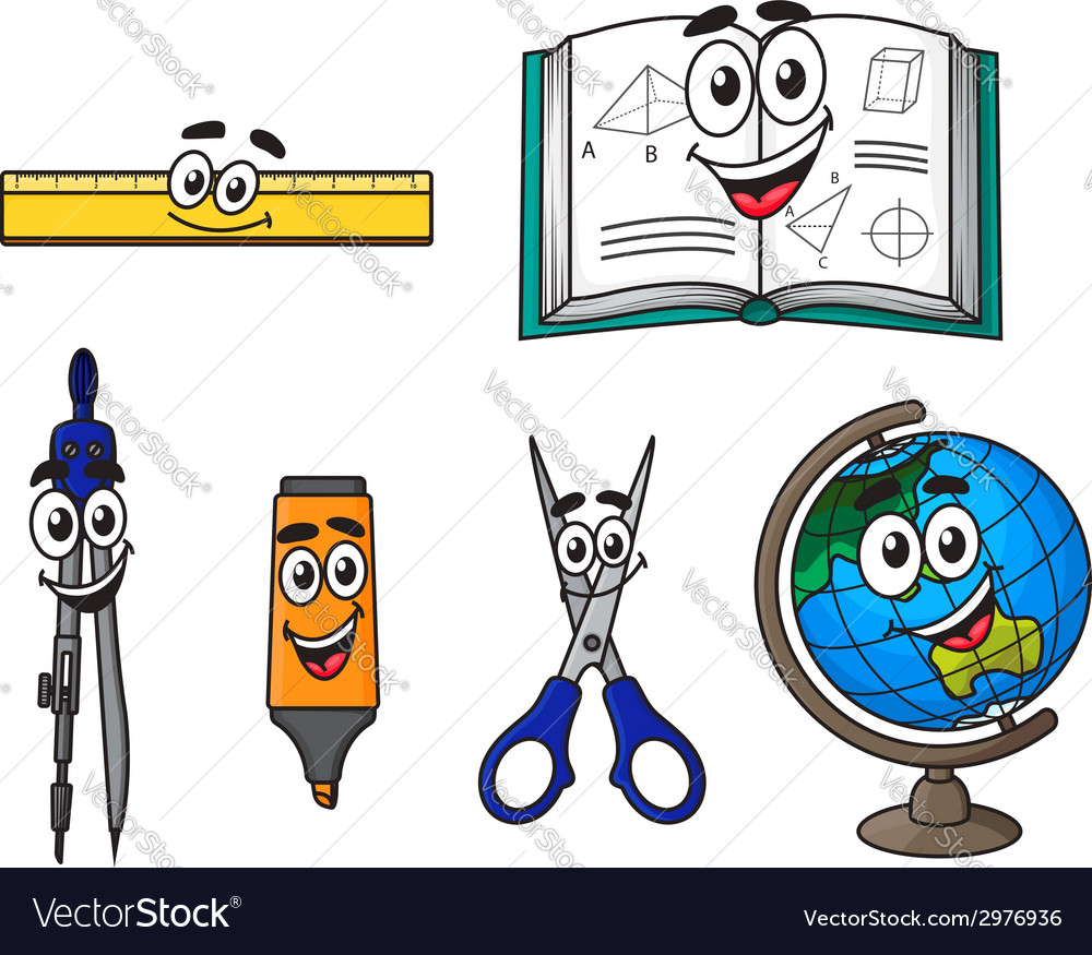 Happy cartoon school supplies vector | Price: 1 Credit (USD $1)