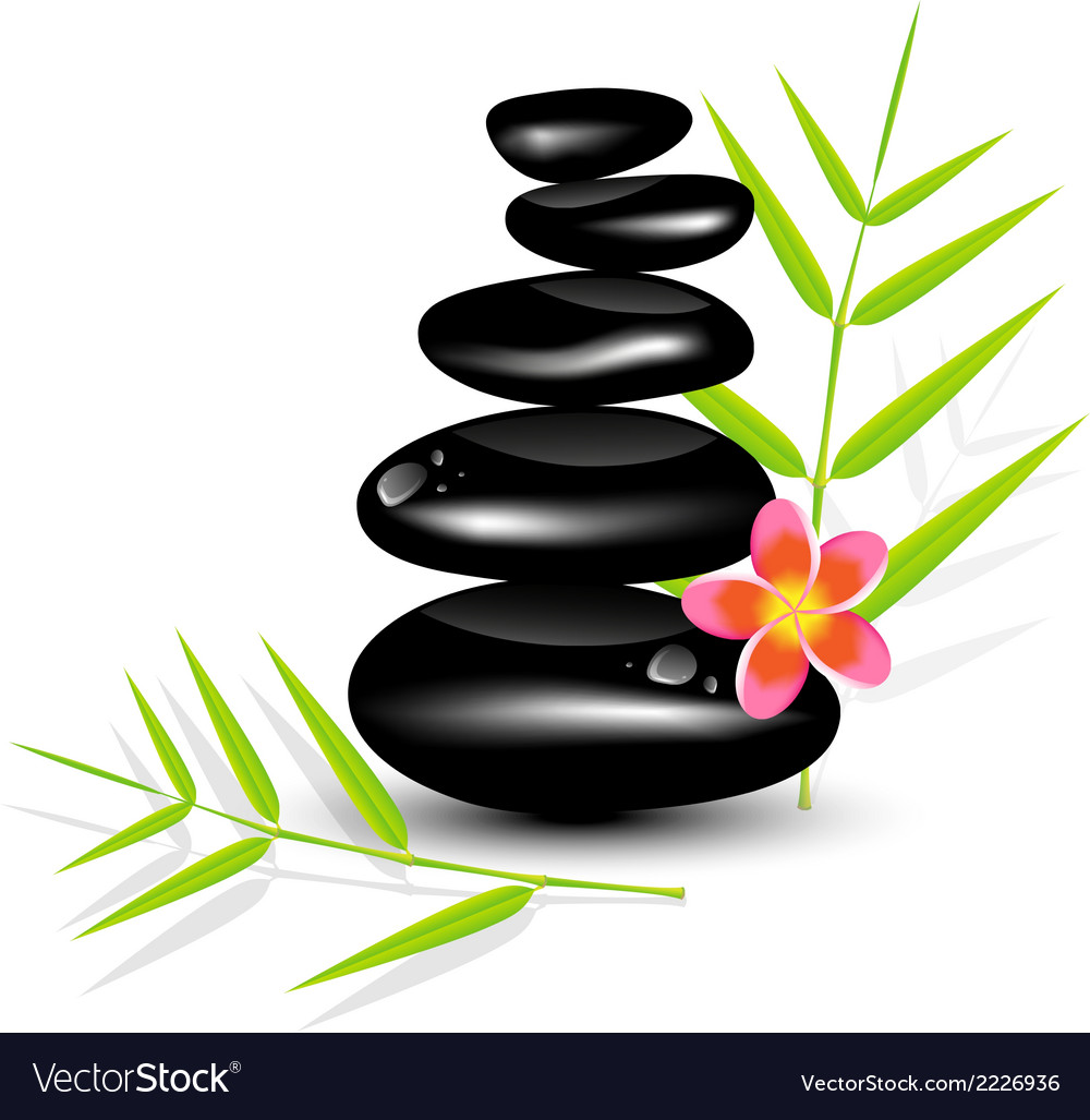 Hot stone massages and bamboo leaf vector | Price: 1 Credit (USD $1)