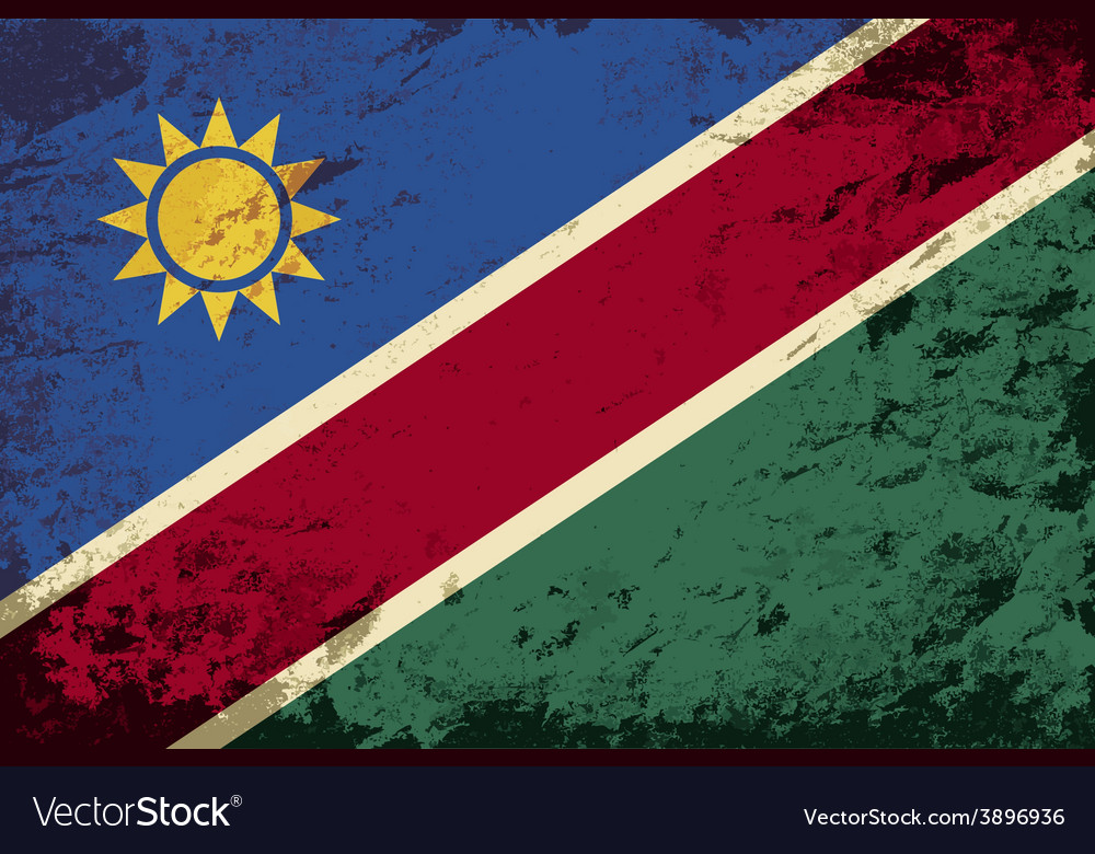 Namibian flag grunge background vector | Price: 1 Credit (USD $1)