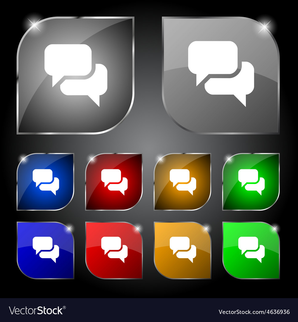 Speech bubble think cloud icon sign set of ten vector | Price: 1 Credit (USD $1)