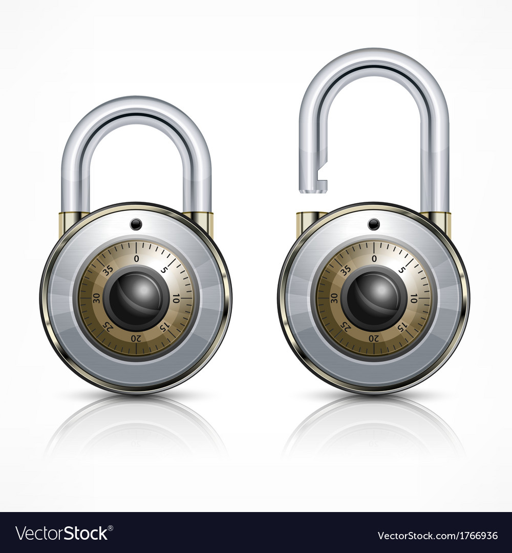 Two round padlock on white vector | Price: 1 Credit (USD $1)
