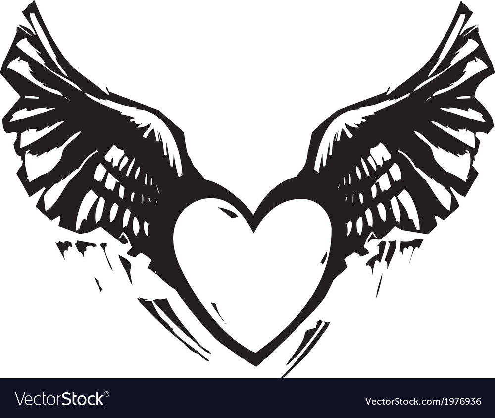 Winged heart black white vector | Price: 1 Credit (USD $1)