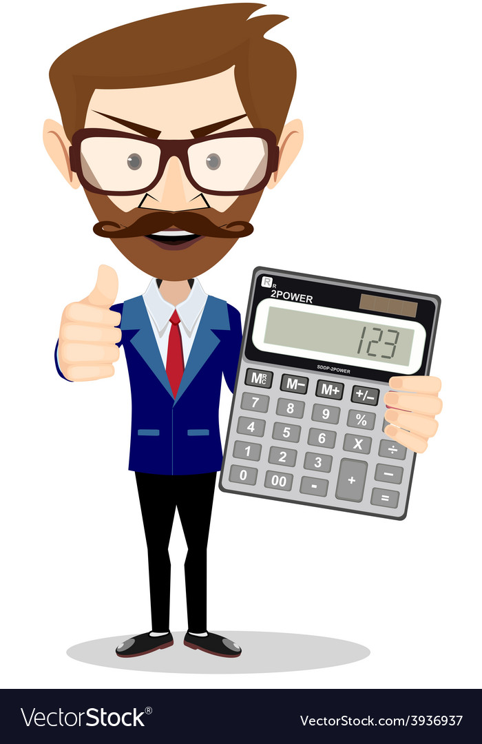 Accountant with a calculator vector | Price: 1 Credit (USD $1)