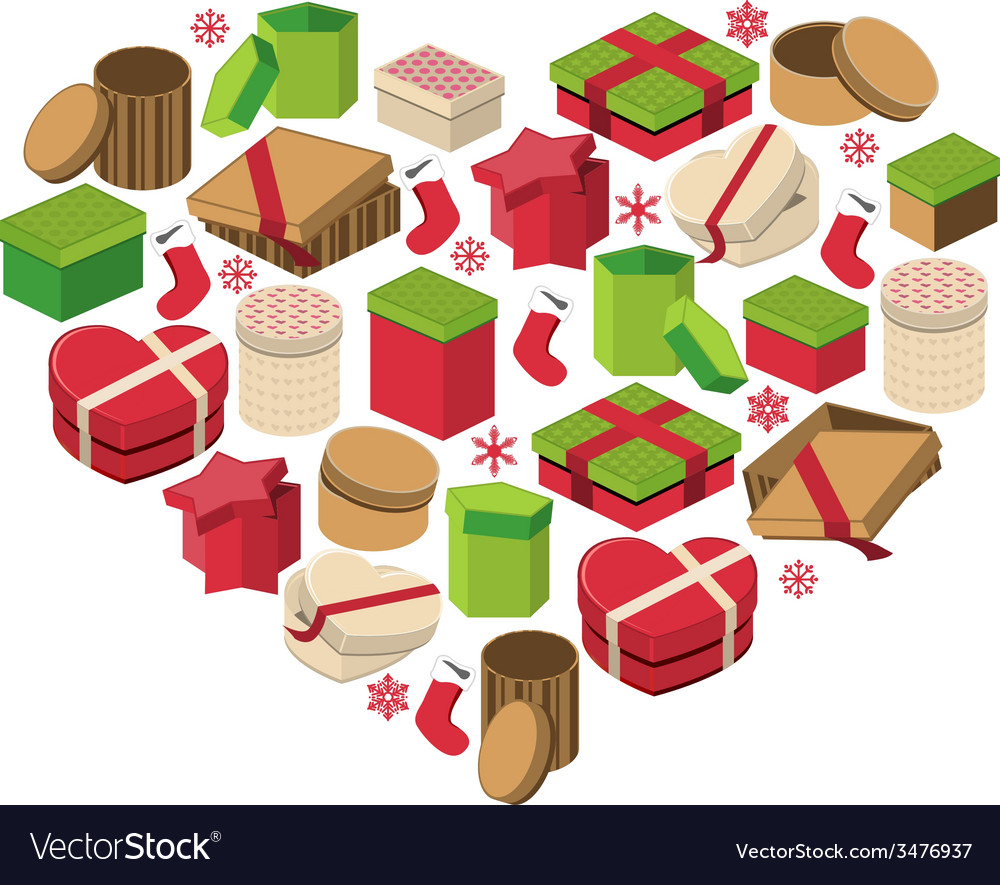 Christmas heart made of gift boxes vector | Price: 1 Credit (USD $1)