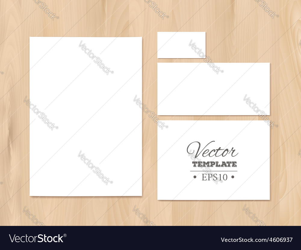 Corporate identity templates on a wooden vector | Price: 1 Credit (USD $1)