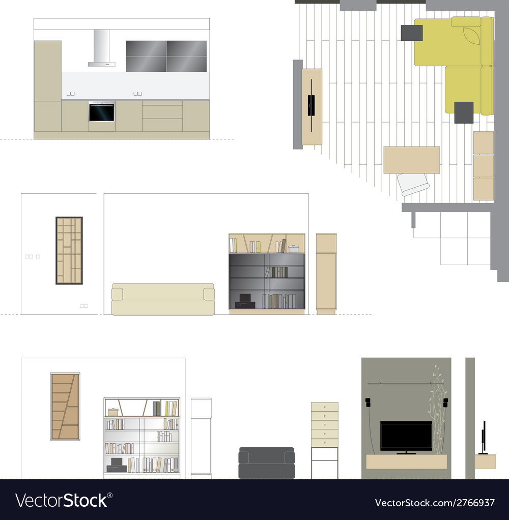 Flat projection furniture set vector | Price: 1 Credit (USD $1)