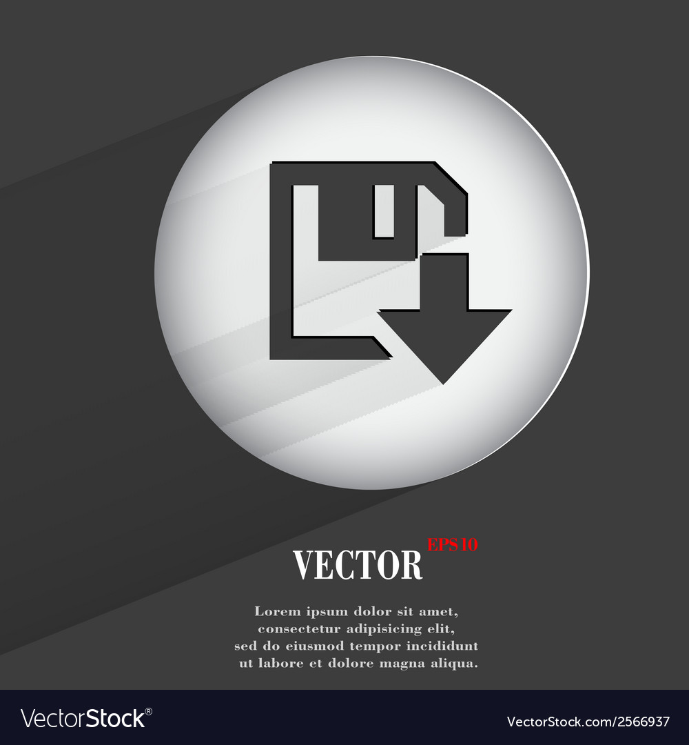 Floppy disk download flat modern web button with vector | Price: 1 Credit (USD $1)