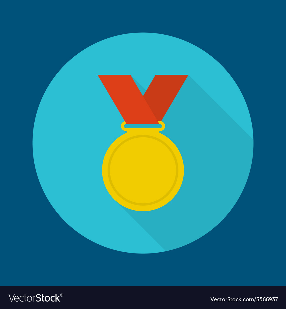 Gold medal with red ribbon vector | Price: 1 Credit (USD $1)