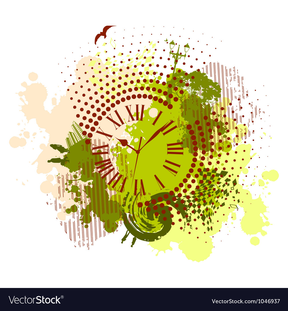 Grunge abstract background with antique clocks vector | Price: 1 Credit (USD $1)