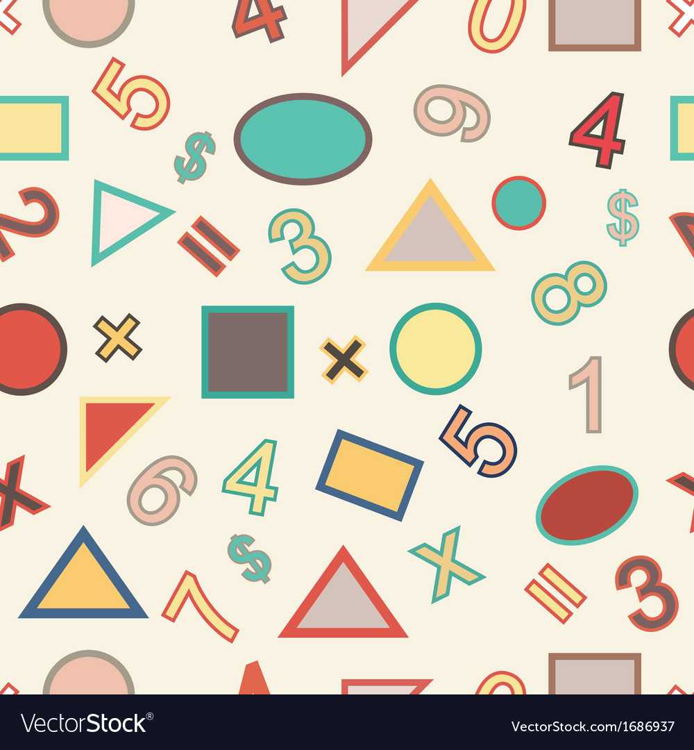 Seamless of numbers and geometric shapes vector | Price: 1 Credit (USD $1)