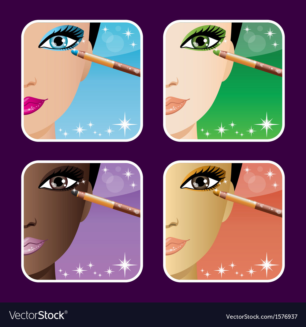 Set of makeup young vector | Price: 1 Credit (USD $1)