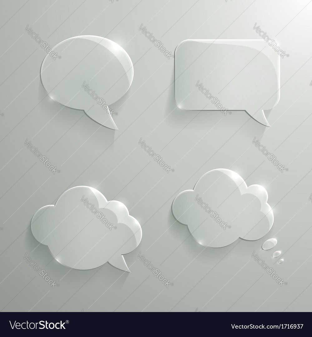 Set of realistic glass speech bubbles vector | Price: 1 Credit (USD $1)