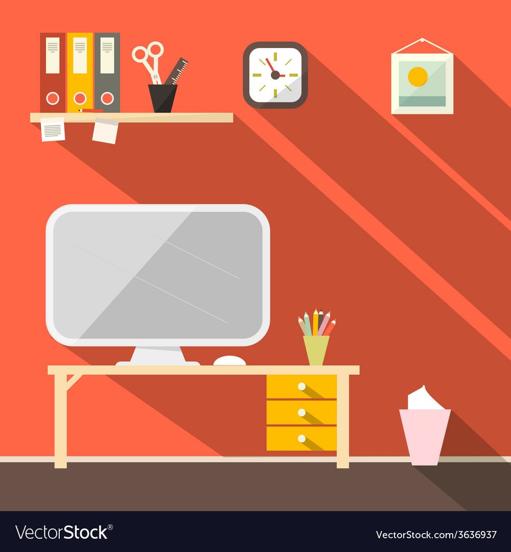Studying room - office vector | Price: 1 Credit (USD $1)