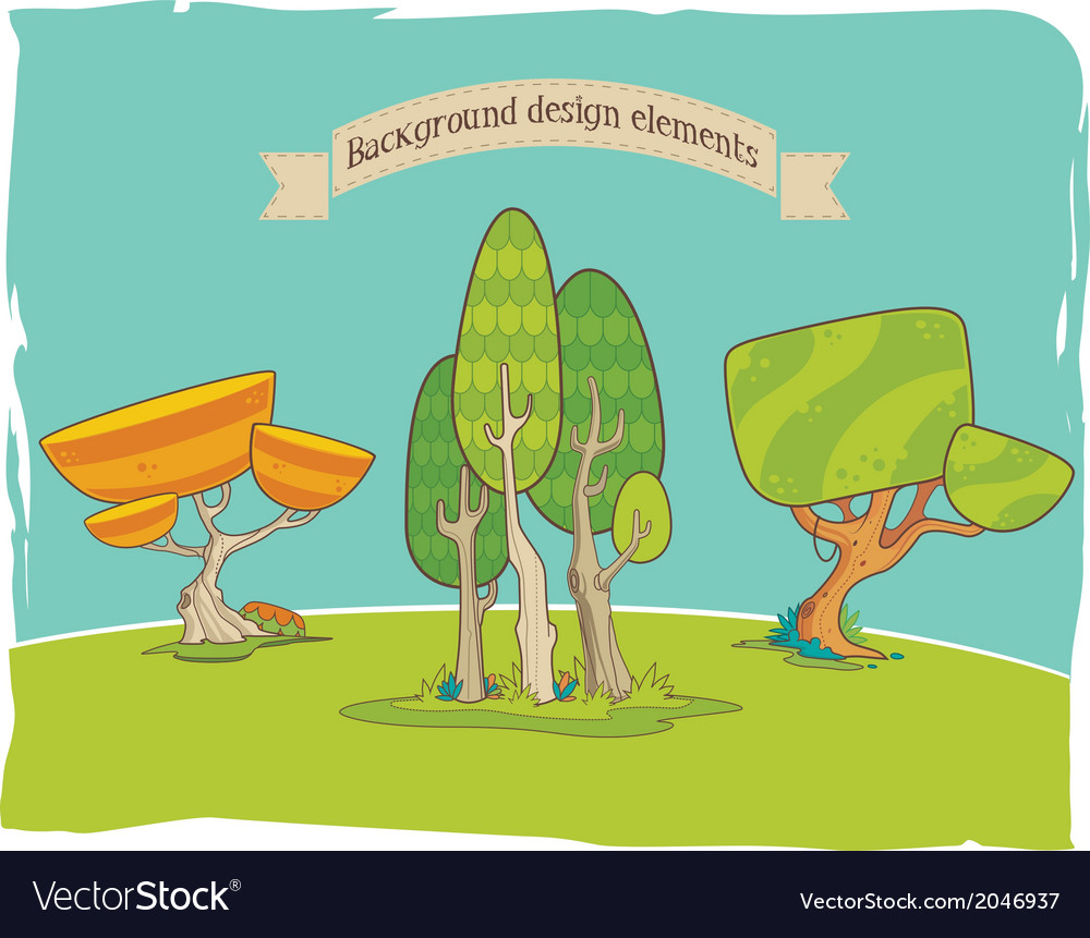 Stylized background design elements trees vector | Price: 1 Credit (USD $1)