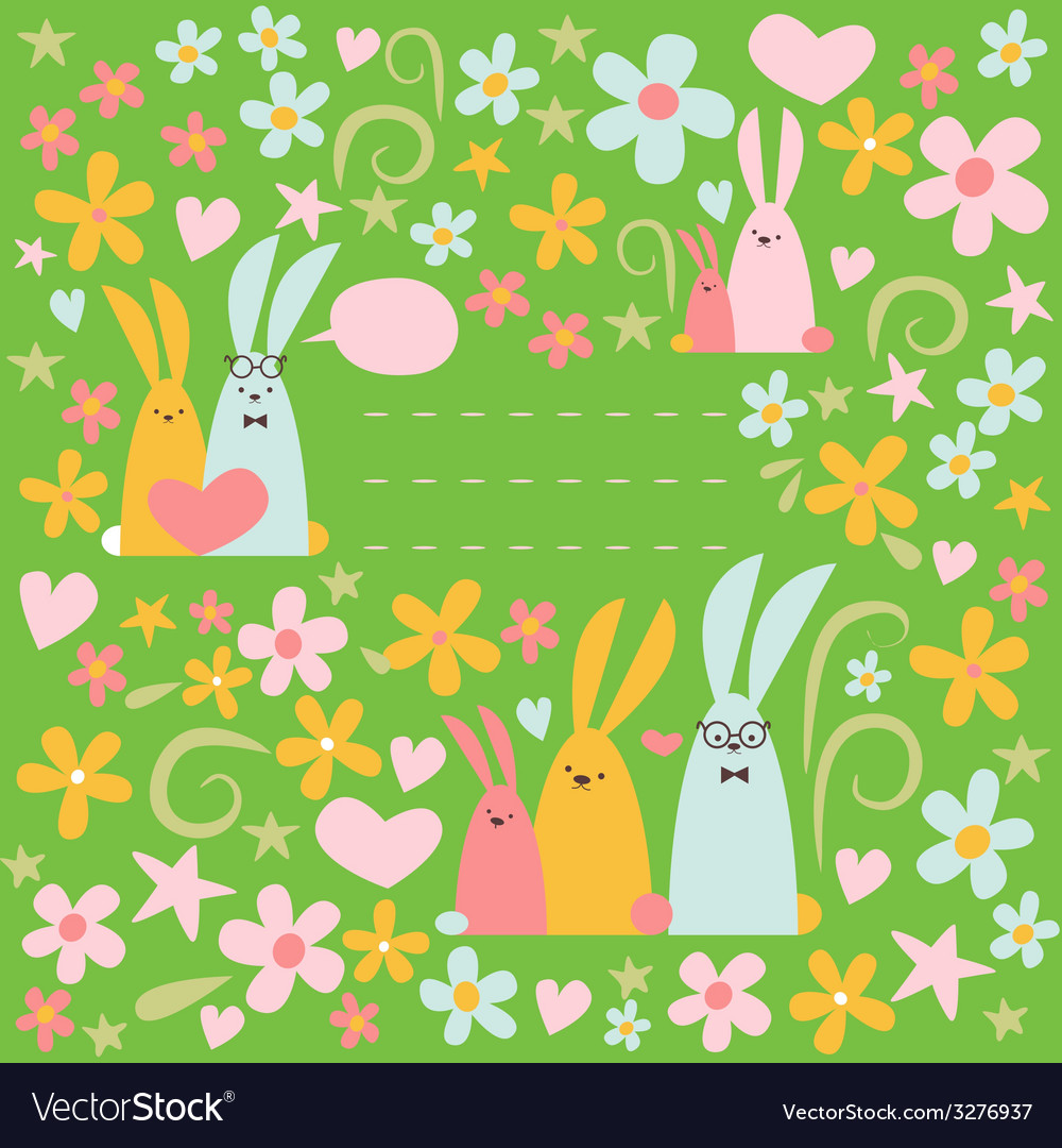 Summer design with rabbits vector | Price: 1 Credit (USD $1)