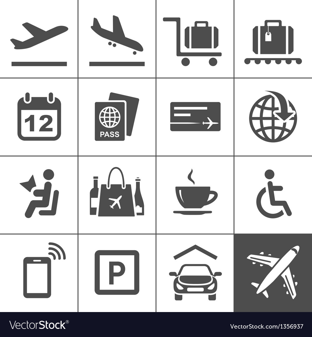 Universal airport and air travel icons vector | Price: 3 Credit (USD $3)