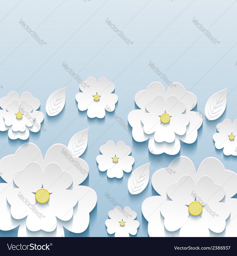 Wallpaper with 3d flowers sakura vector | Price: 1 Credit (USD $1)