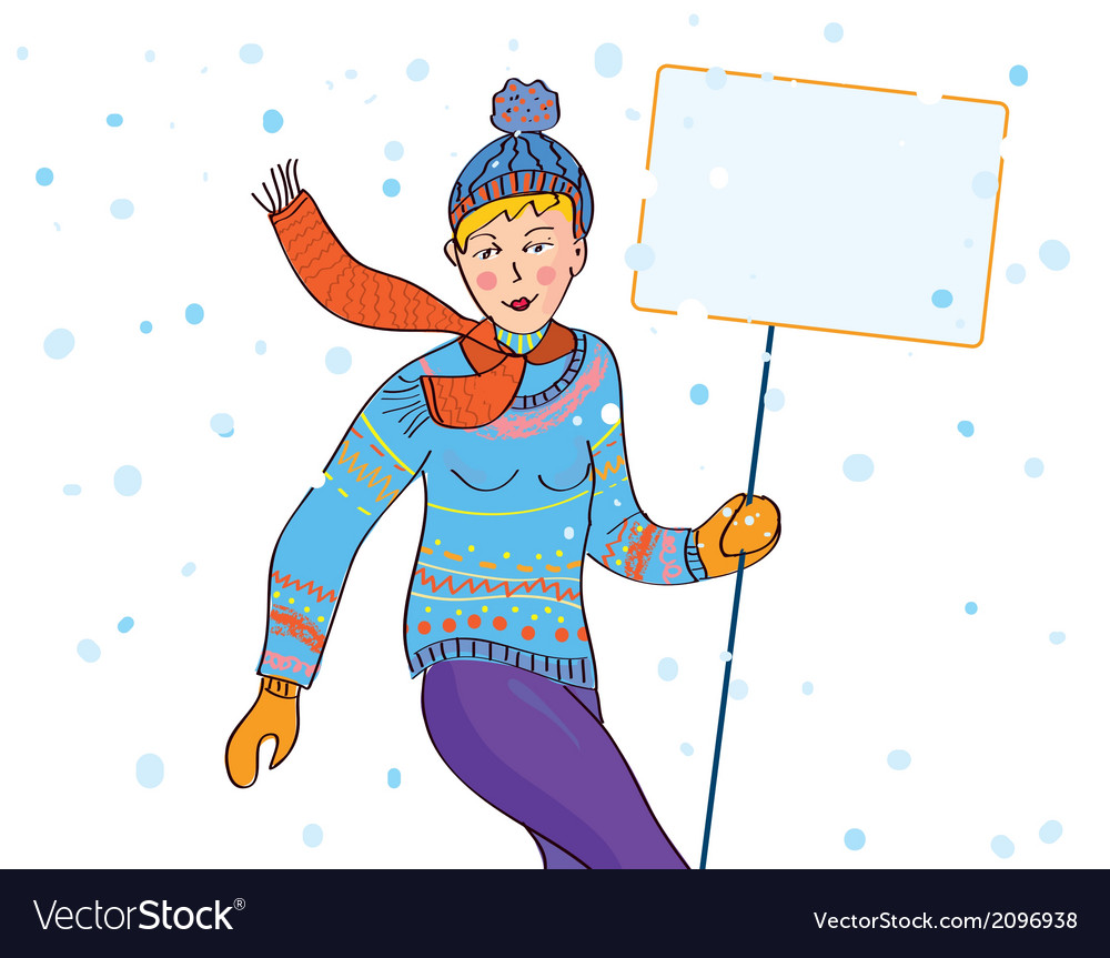 Banner for advertising with winter girl vector | Price: 1 Credit (USD $1)
