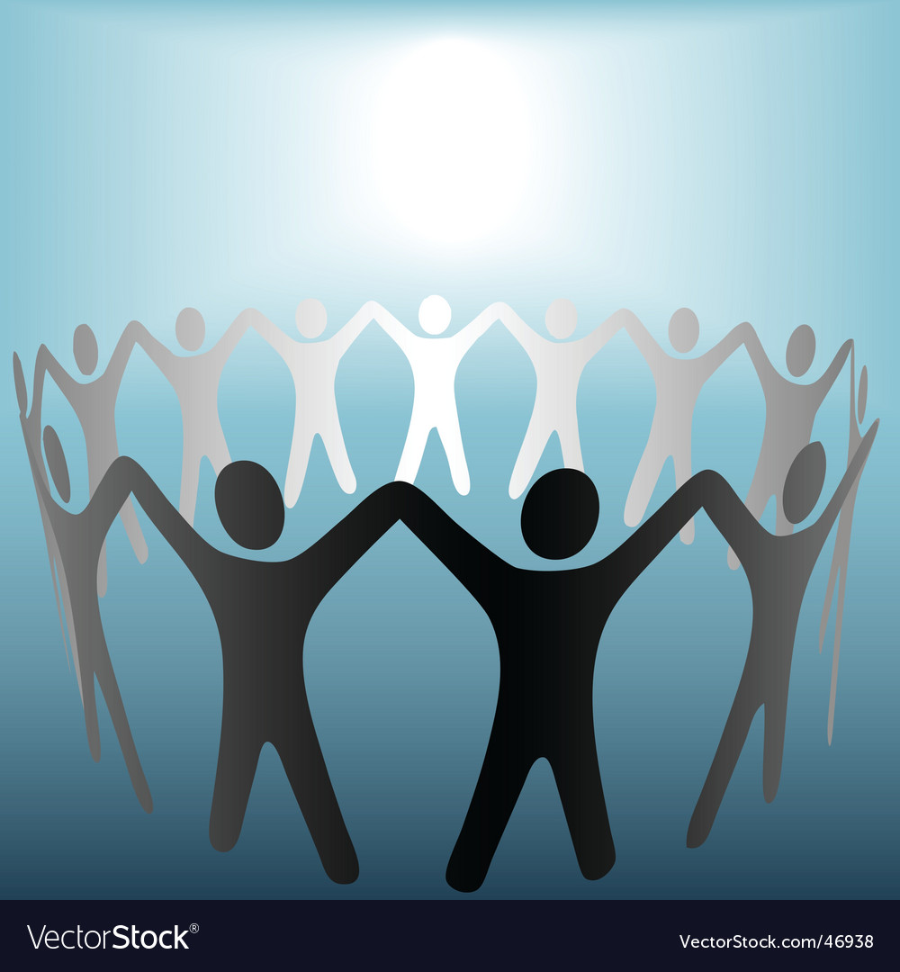 Circle of people hold hands vector | Price: 1 Credit (USD $1)