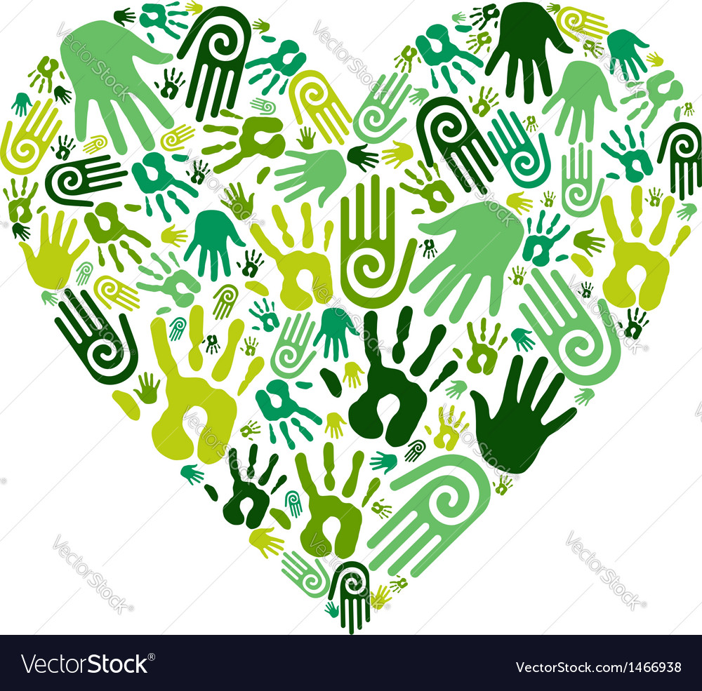 Go green hands love heart vector | Price: 1 Credit (USD $1)