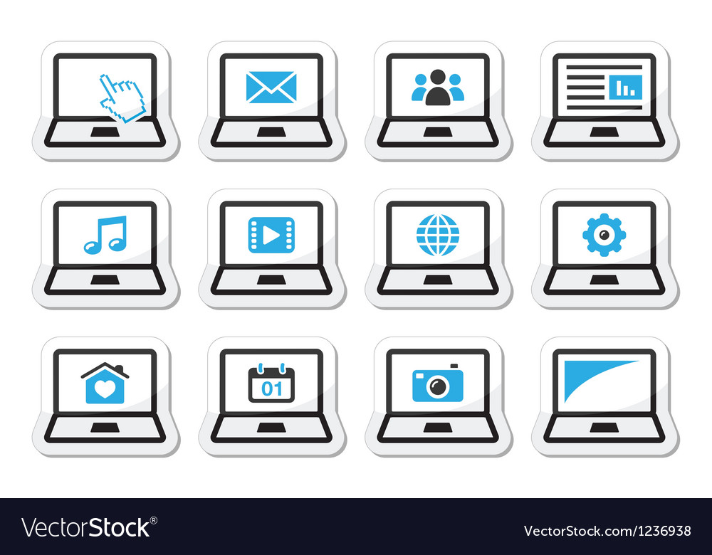 Laptop icons set vector | Price: 1 Credit (USD $1)