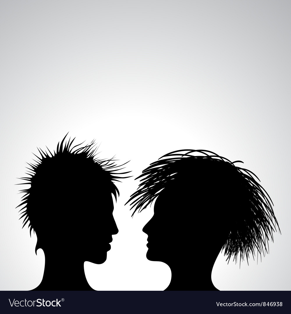 Man and woman profiles vector | Price: 1 Credit (USD $1)