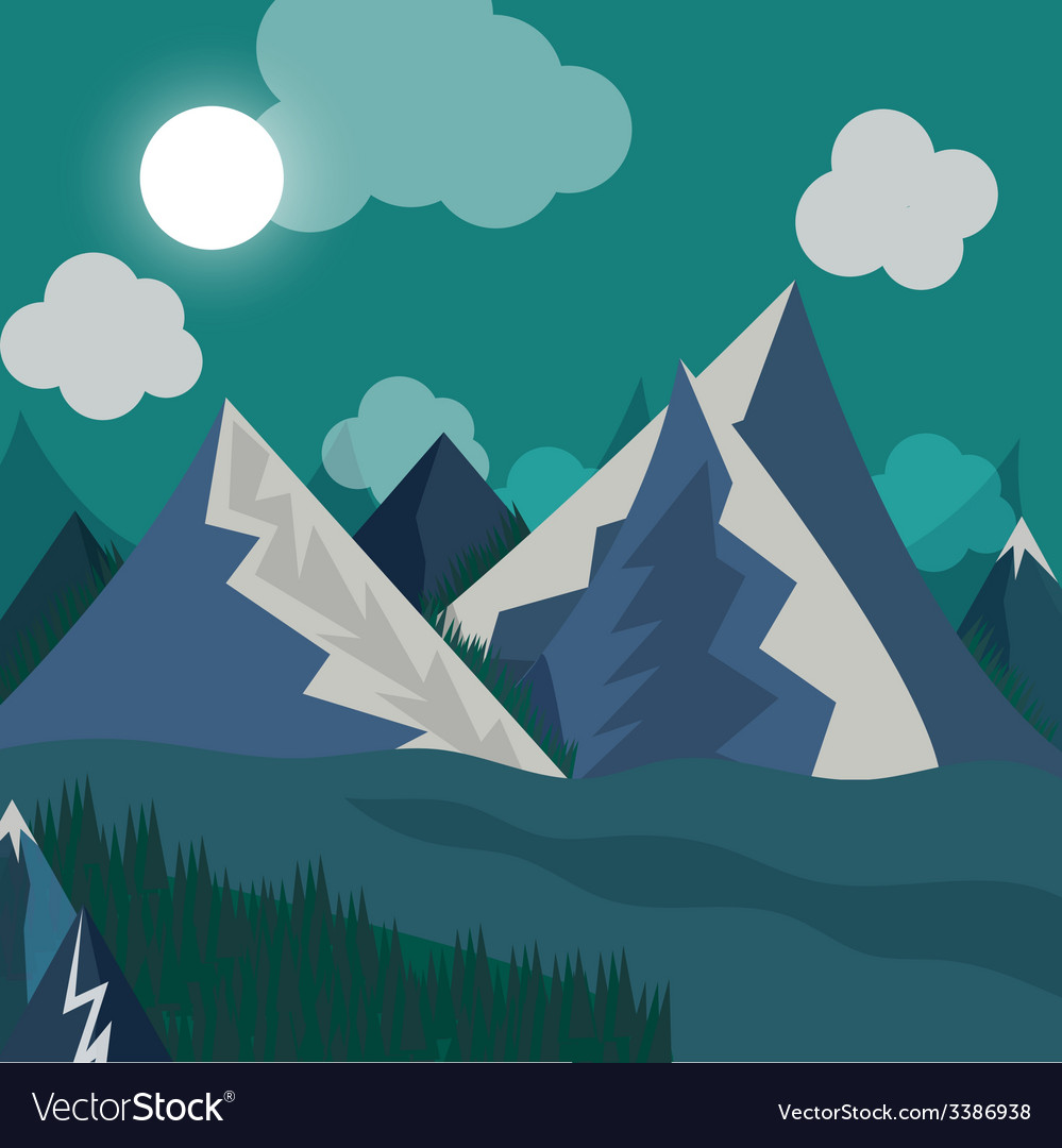 Natural landscape in the style of flat in night vector | Price: 1 Credit (USD $1)