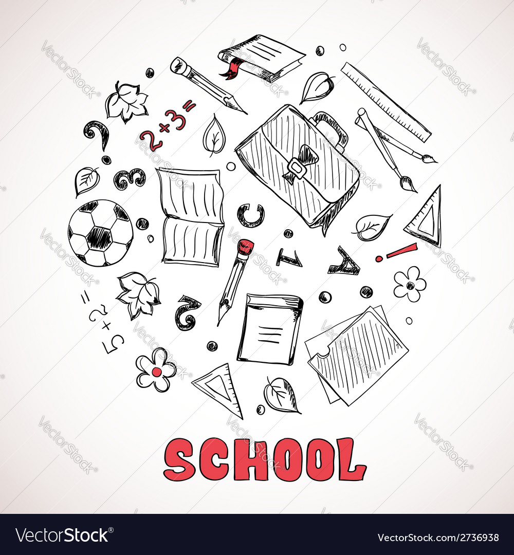 Sketch of school elements vector | Price: 1 Credit (USD $1)