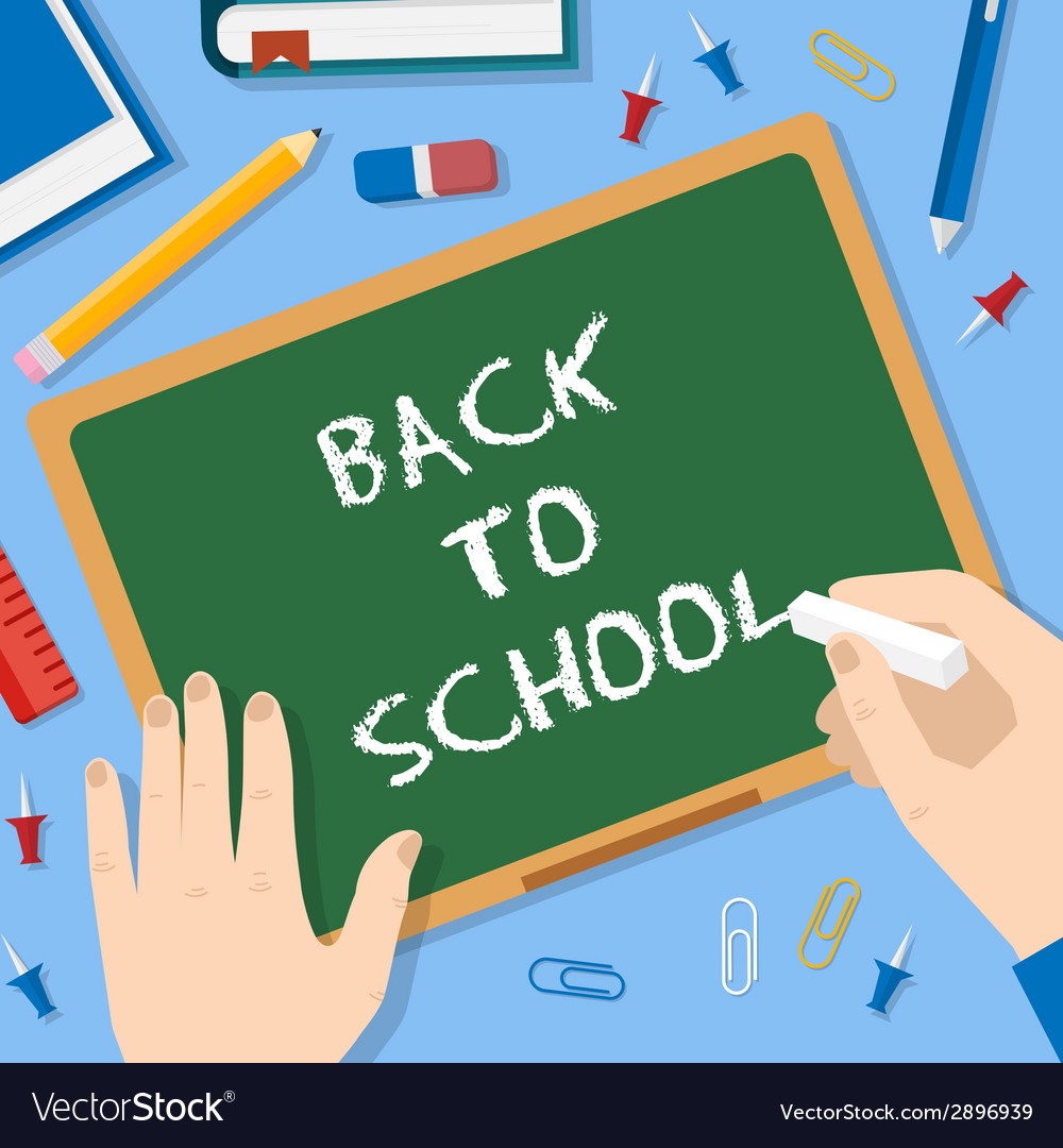 Back to school flat style blackboard background vector   Price: 1 Credit (USD $1)