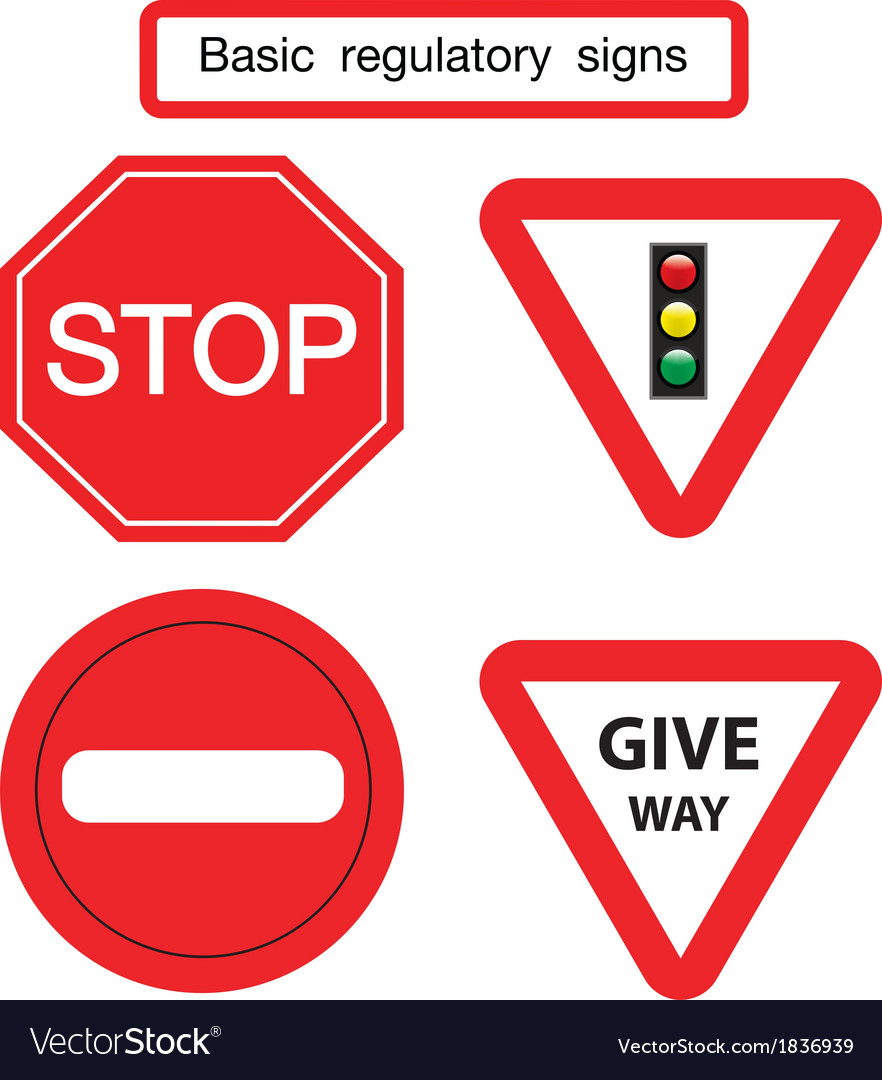 Basic traffic sign give way vector | Price: 1 Credit (USD $1)