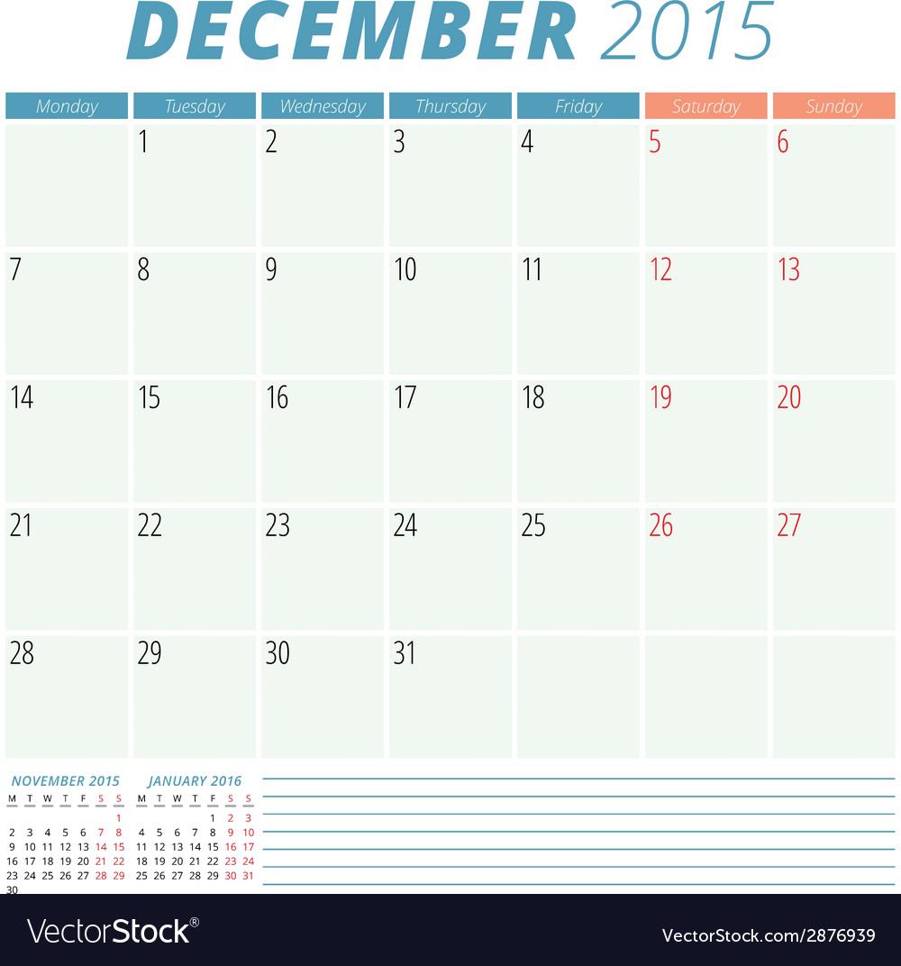 Calendar planner 2015 design template vector | Price: 1 Credit (USD $1)