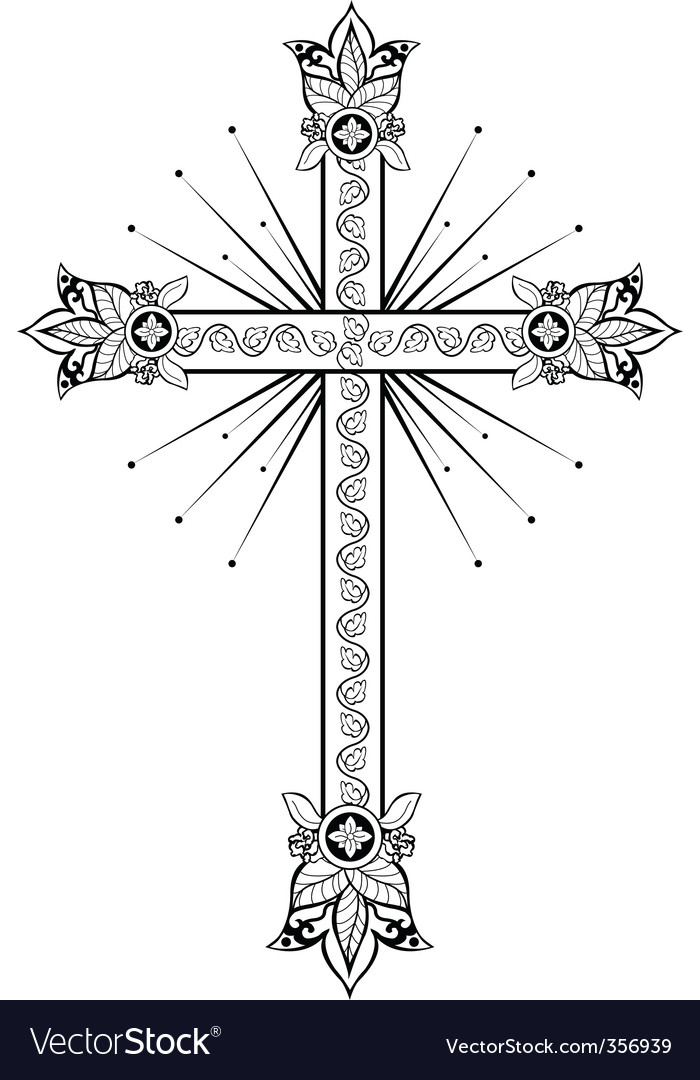 Cross with light doodle g vector | Price: 1 Credit (USD $1)