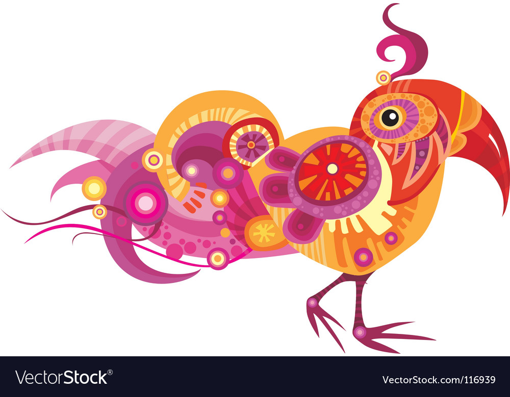 Fancy bird vector | Price: 1 Credit (USD $1)