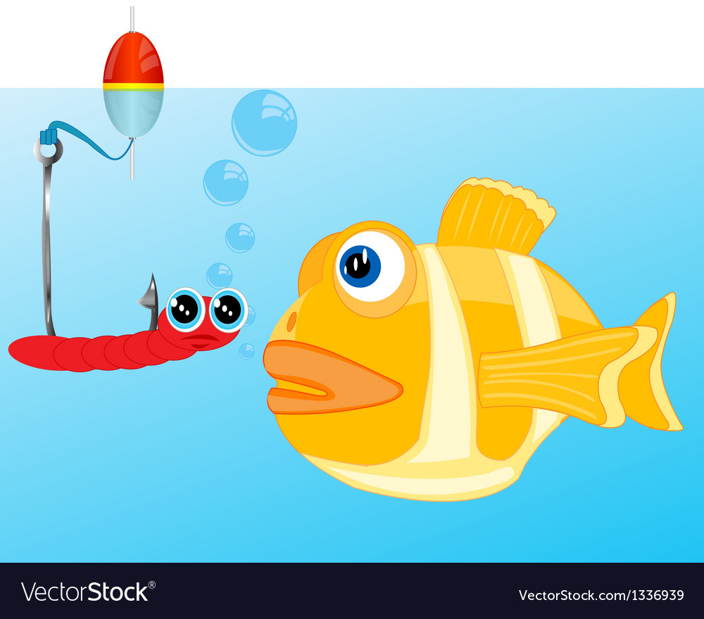Fish and bait on hook vector | Price: 1 Credit (USD $1)