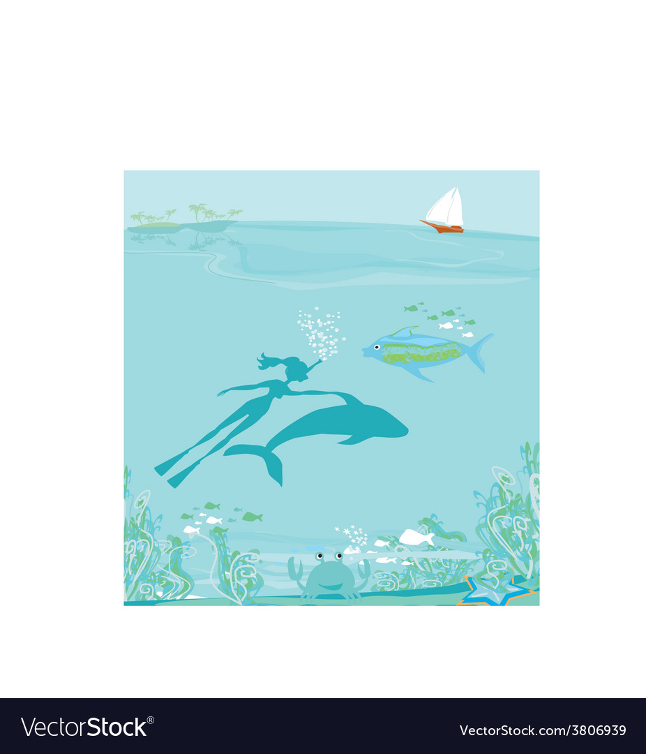 The girl-diver floats together with a dolphin vector | Price: 1 Credit (USD $1)