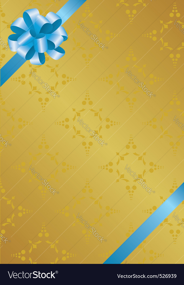 Golden card with blue bowknot vector