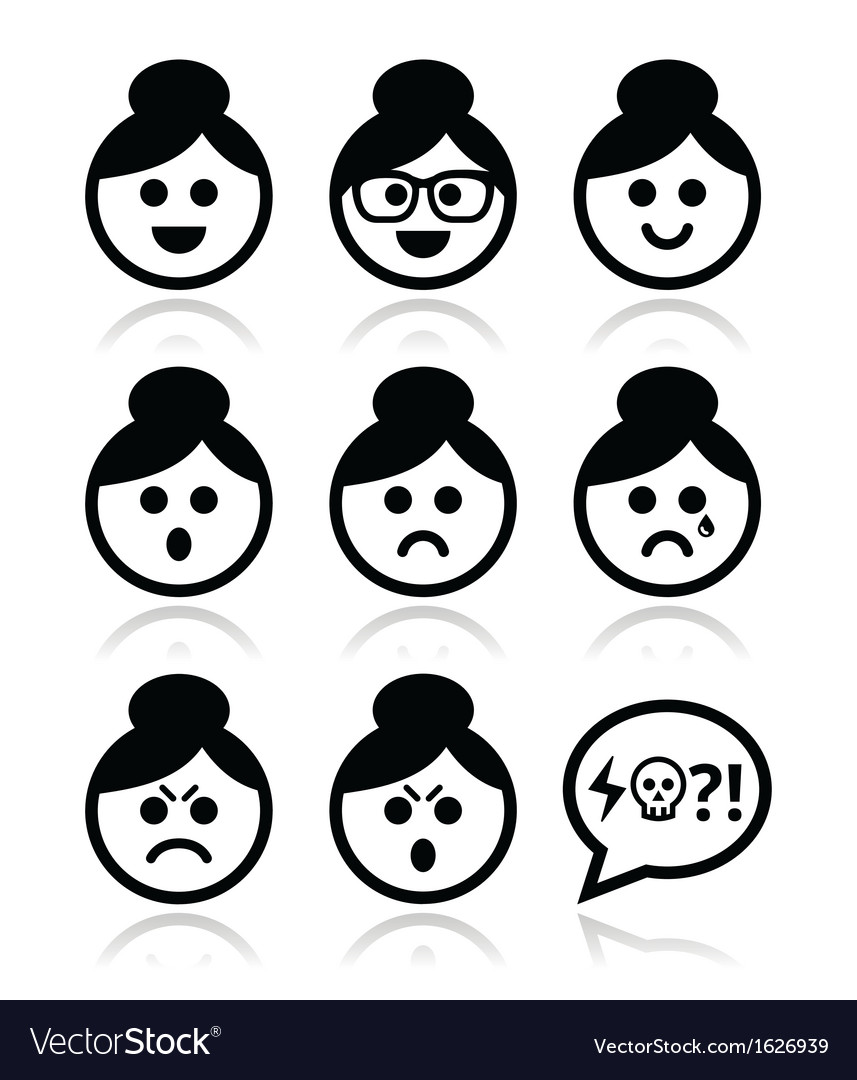 Grandma face woman with bun hair icons set vector | Price: 1 Credit (USD $1)
