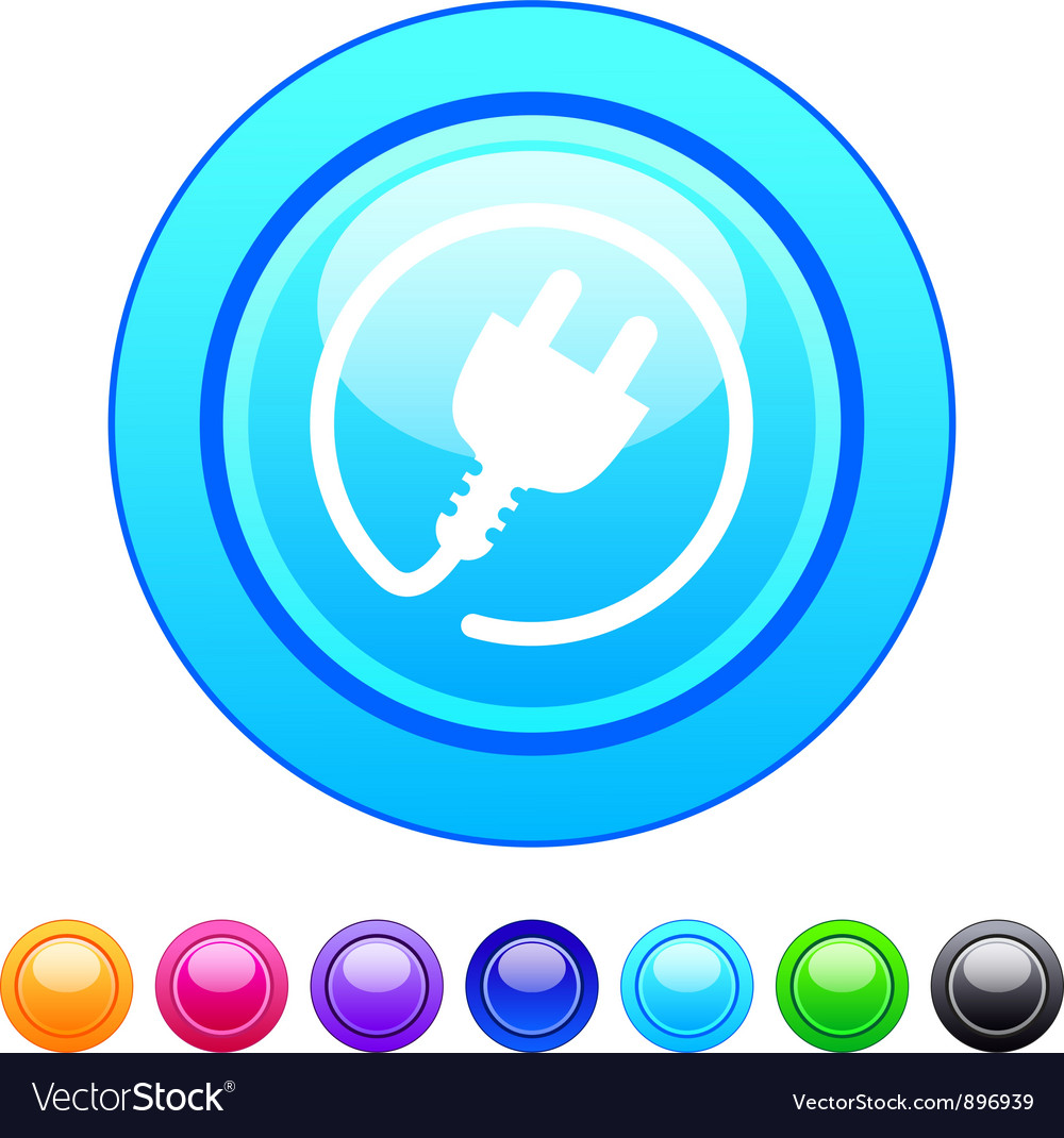 Power plug circle button vector | Price: 1 Credit (USD $1)
