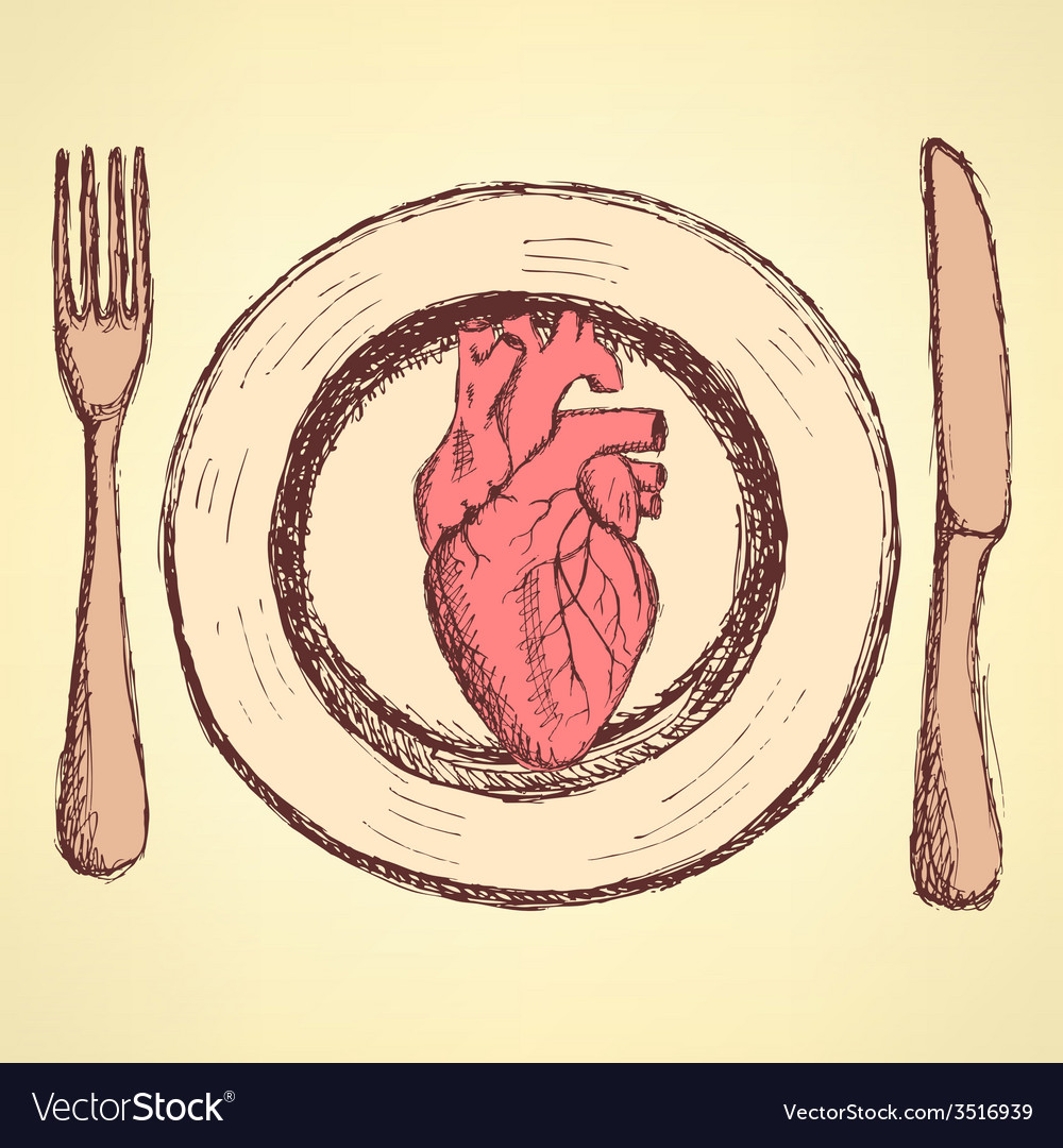 Sketch human heart on the plate in vintage style vector